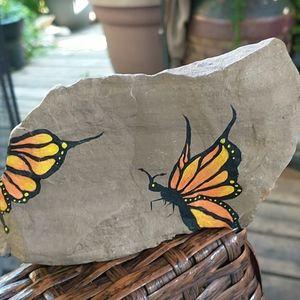 Hand Painted Butterfly Garden Rock